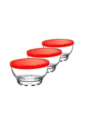 Paşabahçe Kapaklı Cam Kase - Saklama Kabı 3 Lü Kahvaltılık Renkli